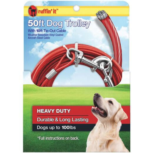 Westminster Pet Ruffin' it 50 Ft. Red Steel Dog Cable Trolley