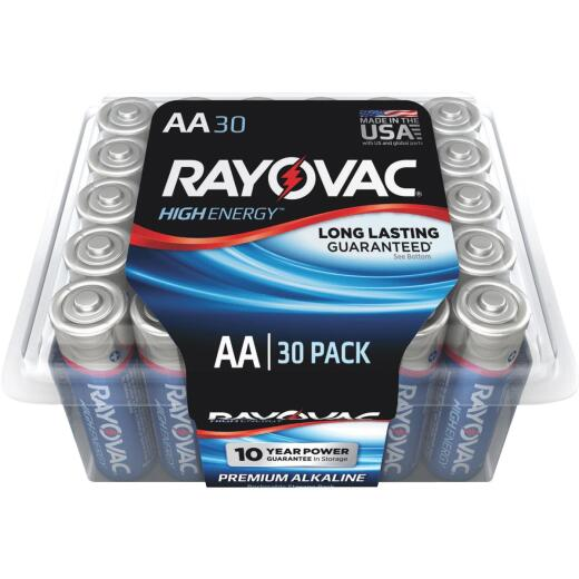 Rayovac High Energy AA Alkaline Battery (30-Pack)