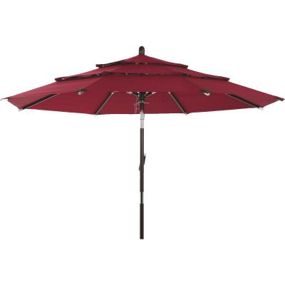Outdoor Expressions 9 Ft. 3-Tier Tilt/Pulley Burgundy Patio Umbrella