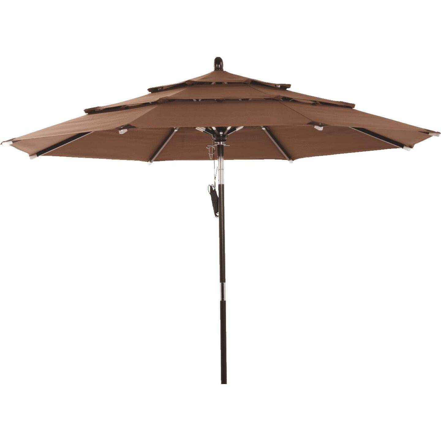 Outdoor Expressions 9 Ft. 3-Tier Tilt/Pulley Brown Patio Umbrella Image 1