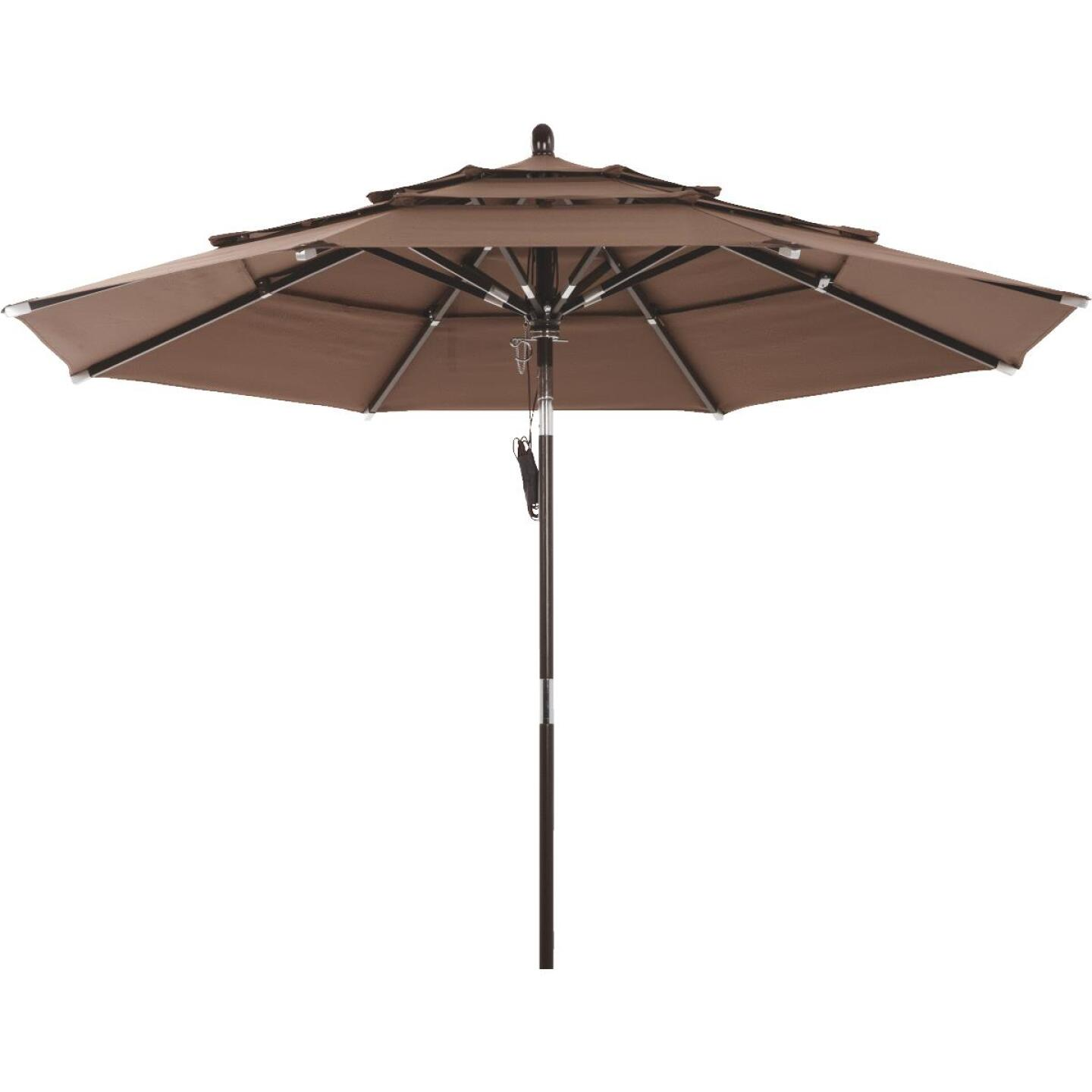 Outdoor Expressions 9 Ft. 3-Tier Tilt/Pulley Brown Patio Umbrella Image 4