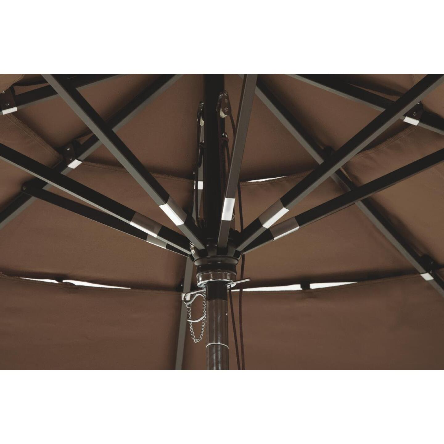 Outdoor Expressions 9 Ft. 3-Tier Tilt/Pulley Brown Patio Umbrella Image 5