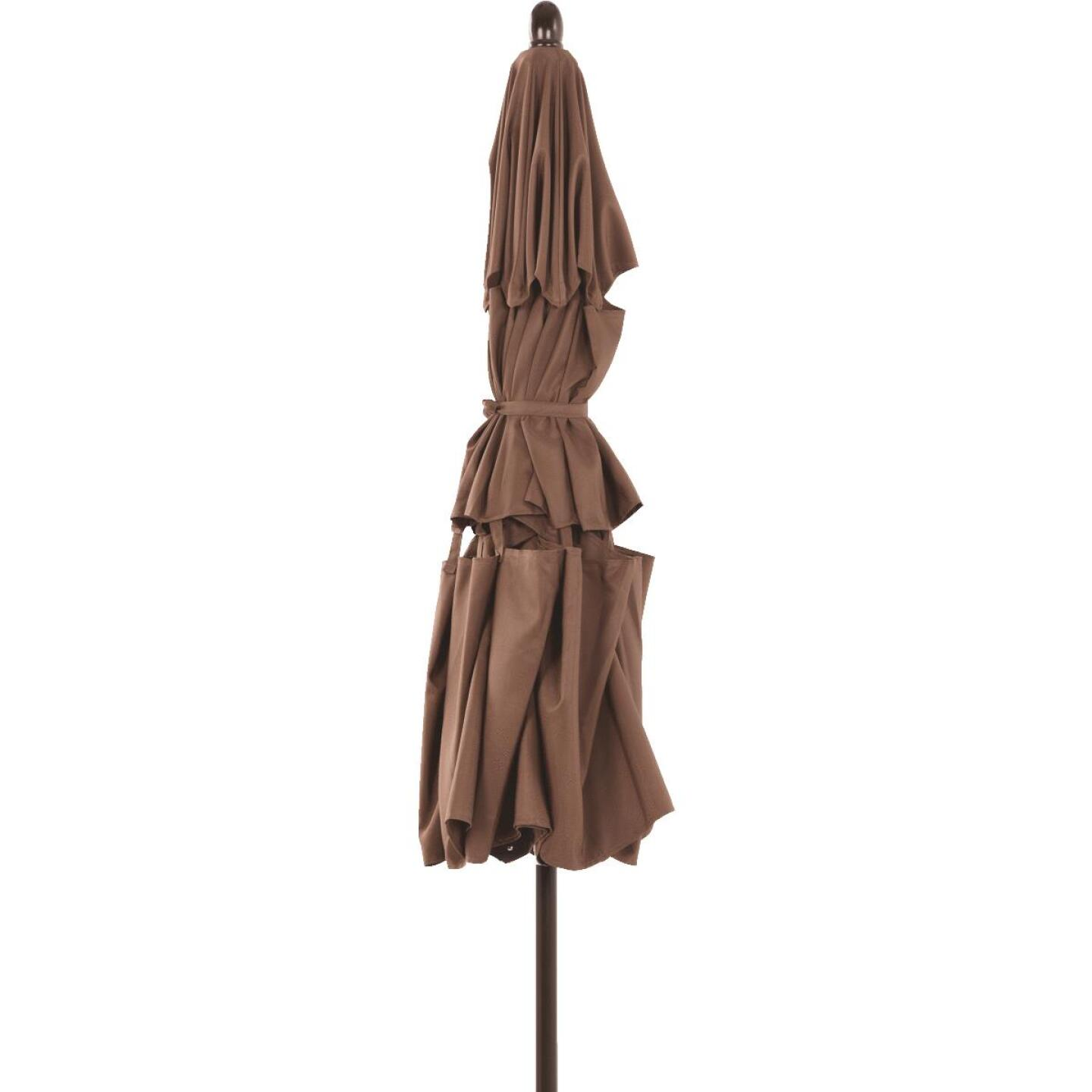 Outdoor Expressions 9 Ft. 3-Tier Tilt/Pulley Brown Patio Umbrella Image 7