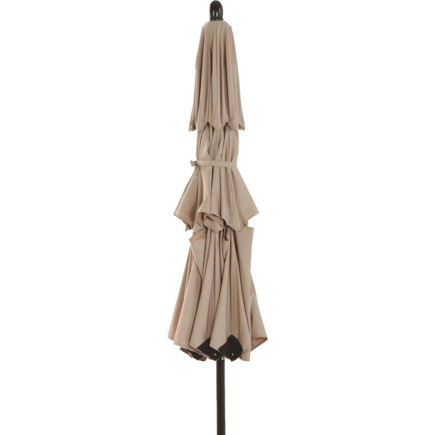 Outdoor Expressions 9 Ft. 3-Tier Tilt/Pulley Tan Patio Umbrella Image 3