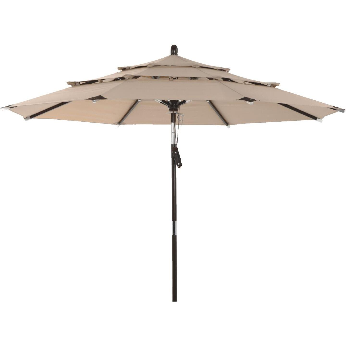 Outdoor Expressions 9 Ft. 3-Tier Tilt/Pulley Tan Patio Umbrella Image 1