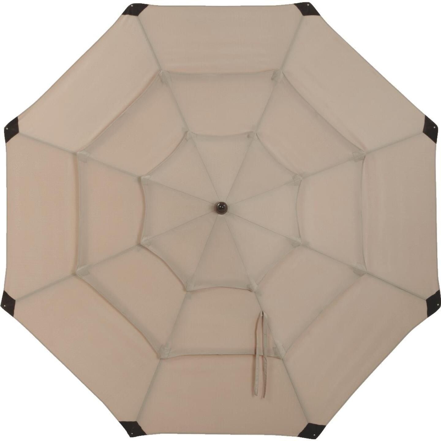 Outdoor Expressions 9 Ft. 3-Tier Tilt/Pulley Tan Patio Umbrella Image 5
