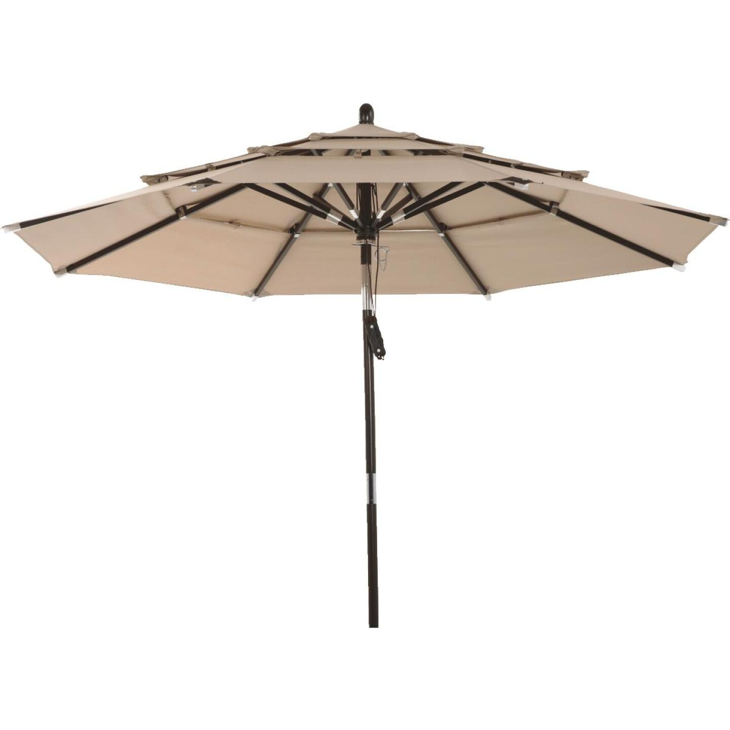 Outdoor Expressions 9 Ft. 3-Tier Tilt/Pulley Tan Patio Umbrella Image 8