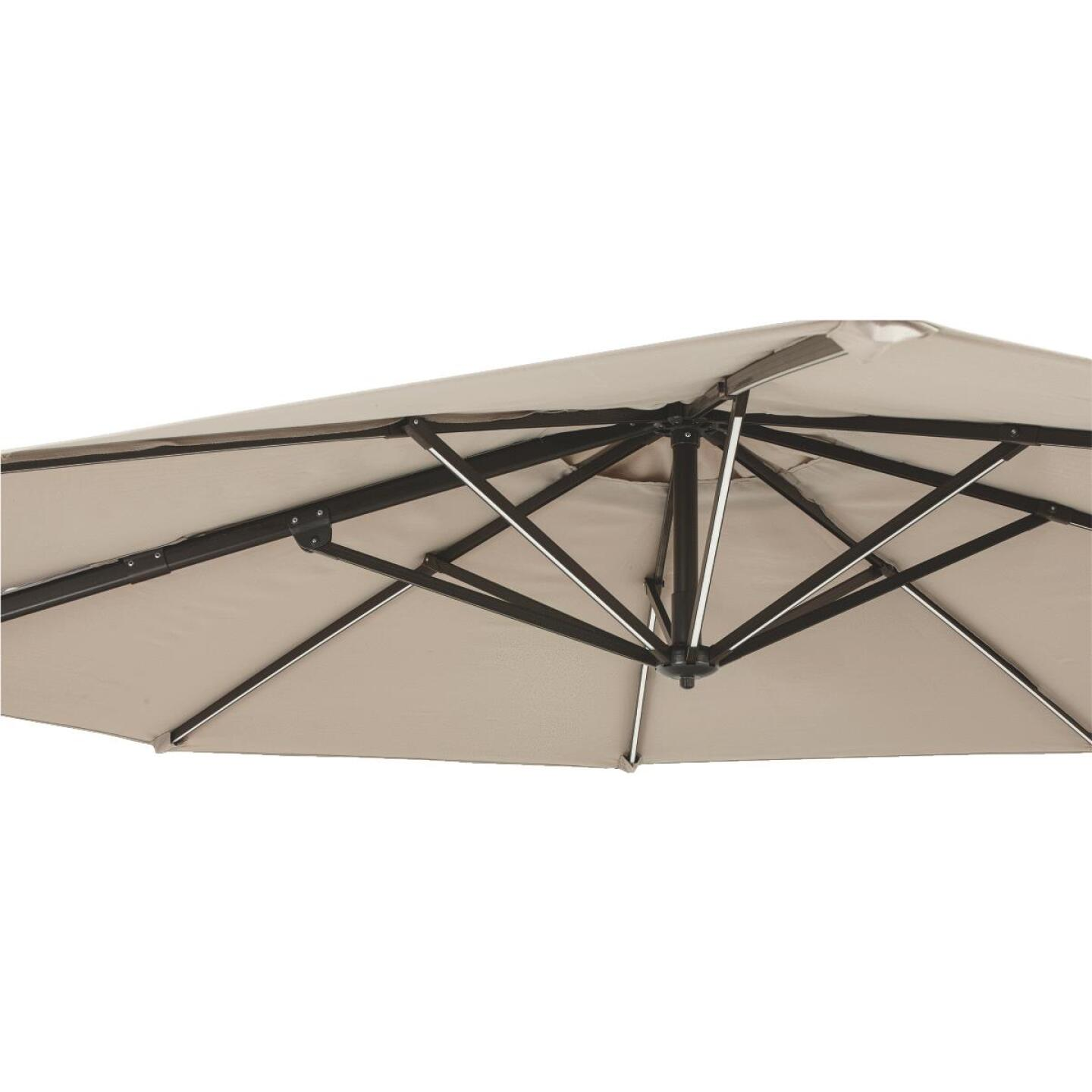 Outdoor Expressions 10 Ft. Offset Cream Patio Umbrella with Solar LED Light Image 2