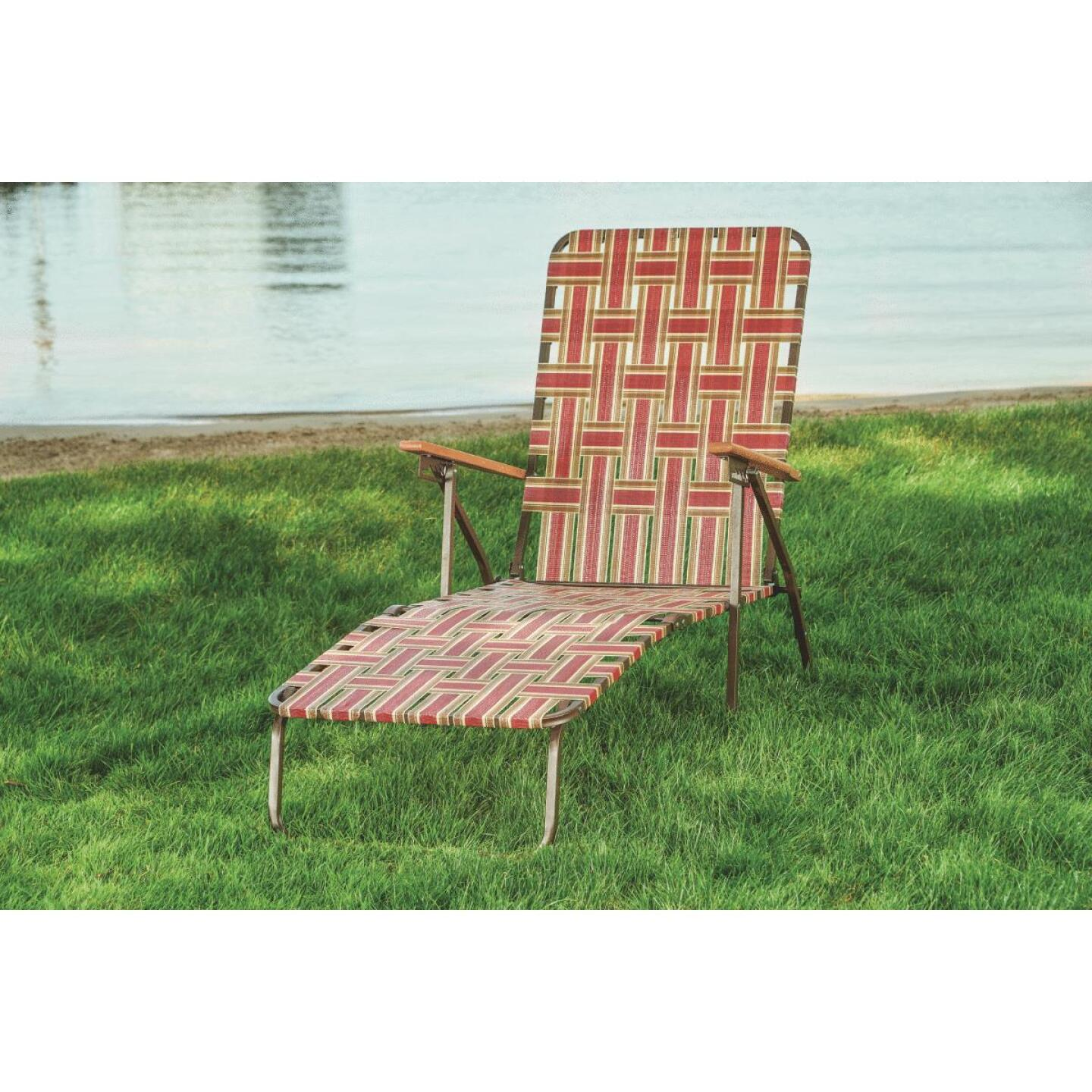 Outdoor Expressions Rust & Beige Web Chaise Lounge Image 3