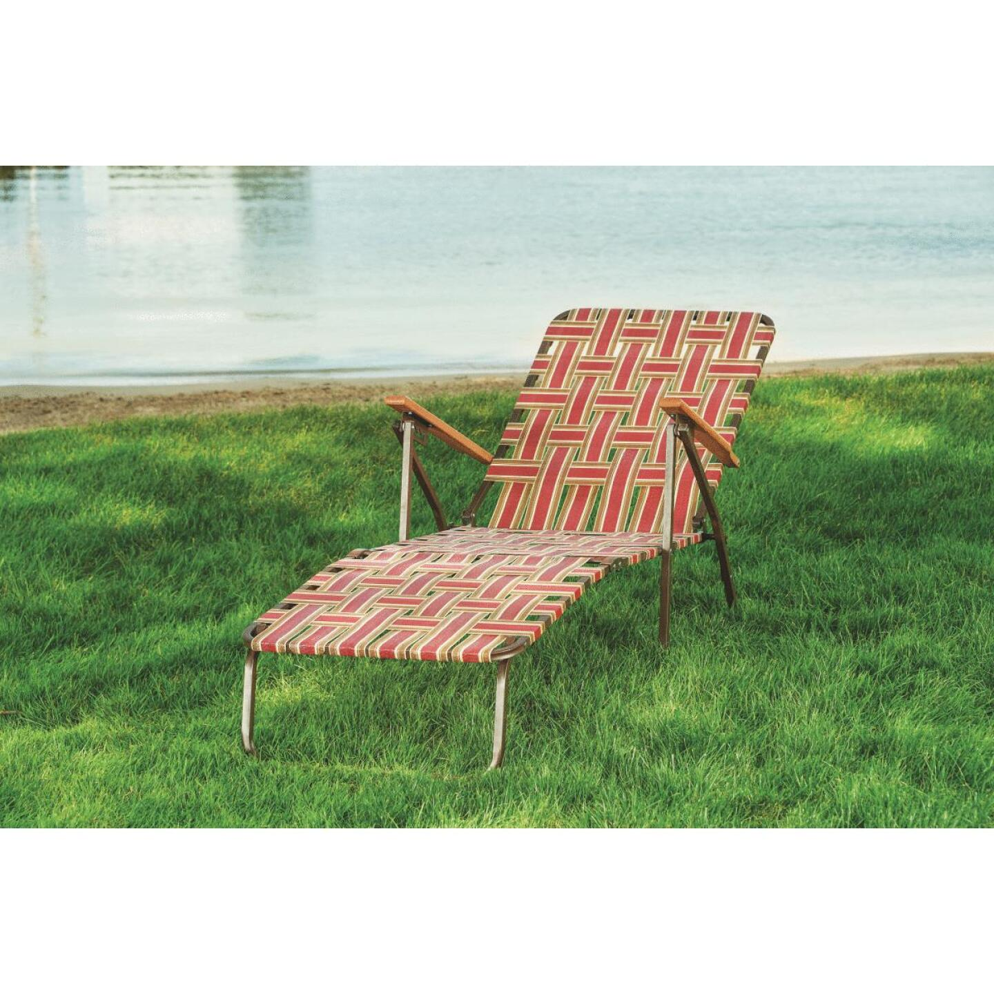 Outdoor Expressions Rust & Beige Web Chaise Lounge Image 4