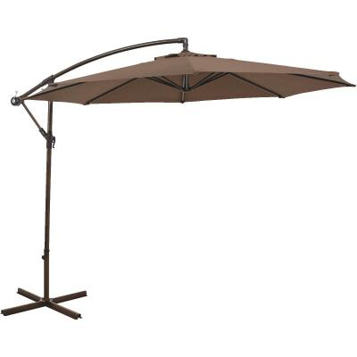 Outdoor Expressions 10 Ft. Round Steel Offset Brown Patio Umbrella