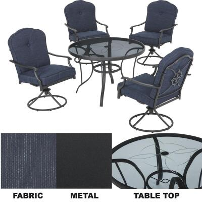 Outdoor Expressions Woodbridge 5-Piece Swivel Chair Dining Set with Cushions