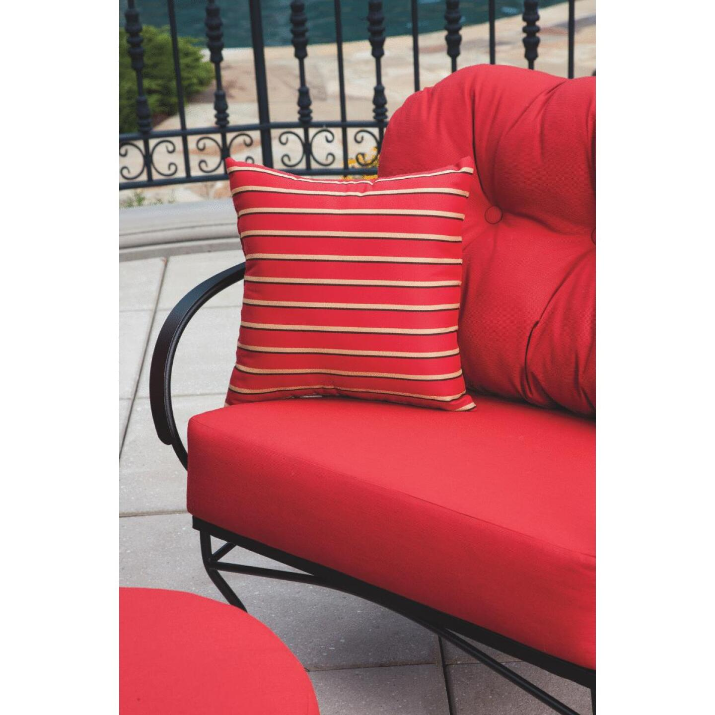 Brantley 3-Piece Steel Chat Set with Red Cushions Image 2