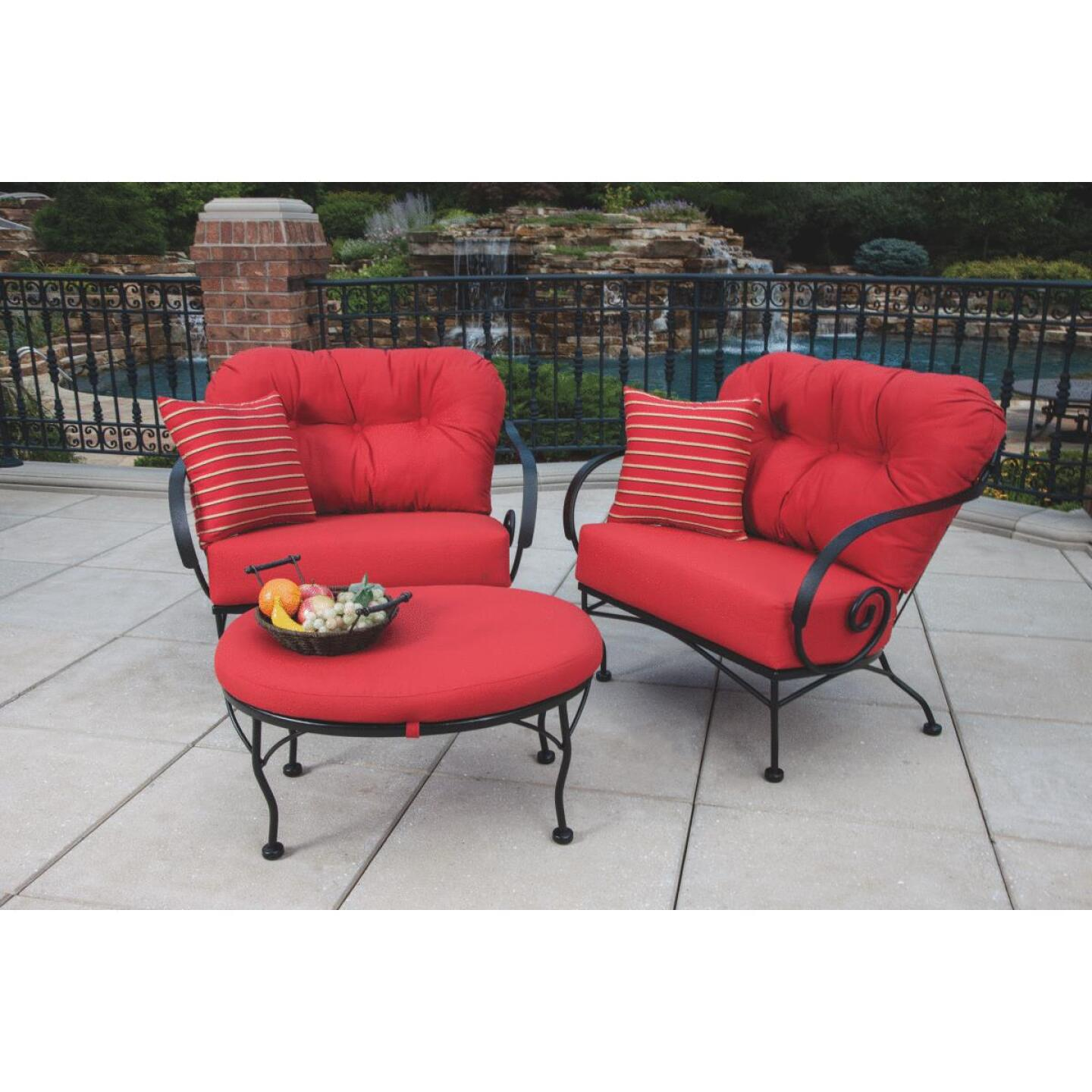 Brantley 3-Piece Steel Chat Set with Red Cushions Image 5