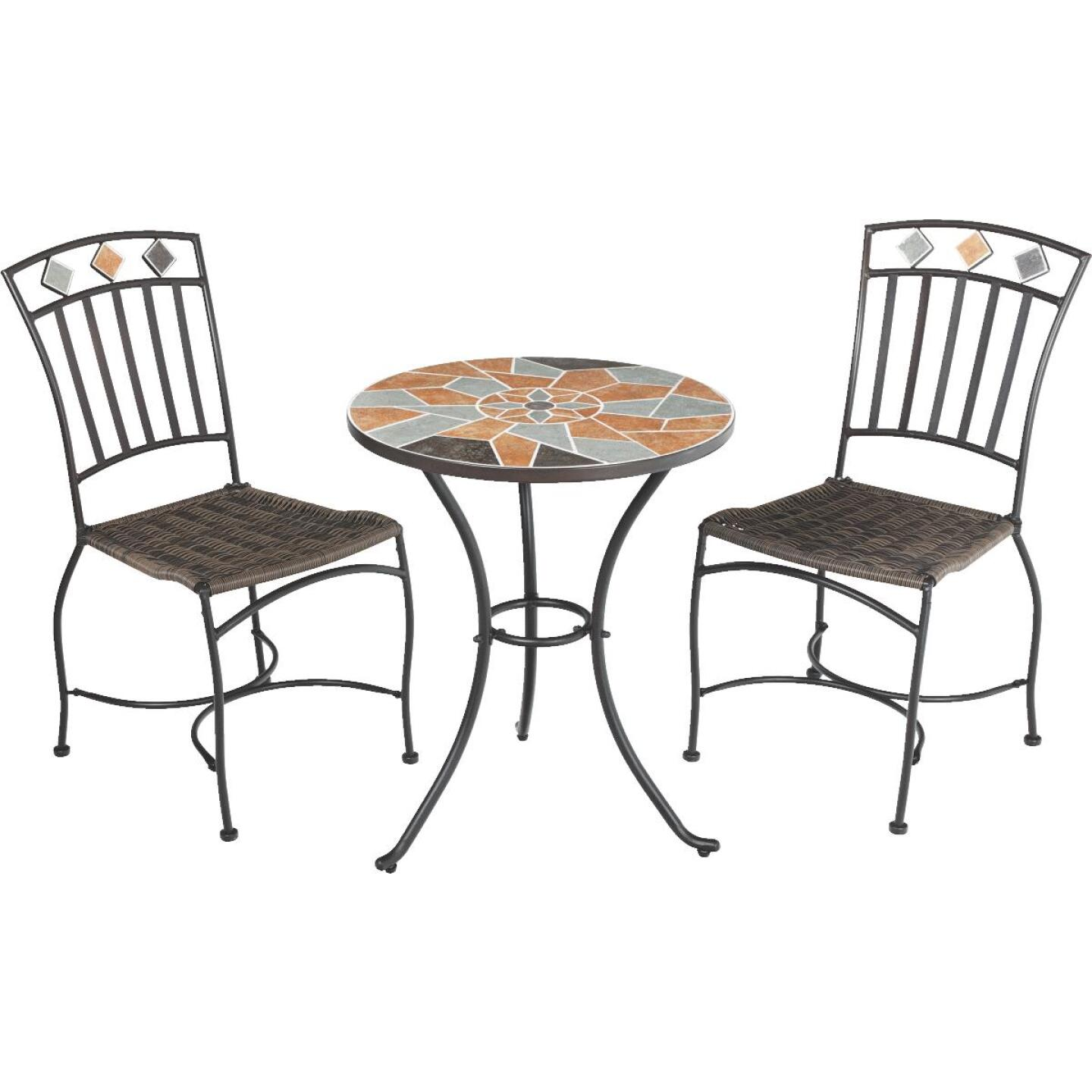 Outdoor Expressions Santorini 3-Piece Bistro Set with Wicker Seats Image 1