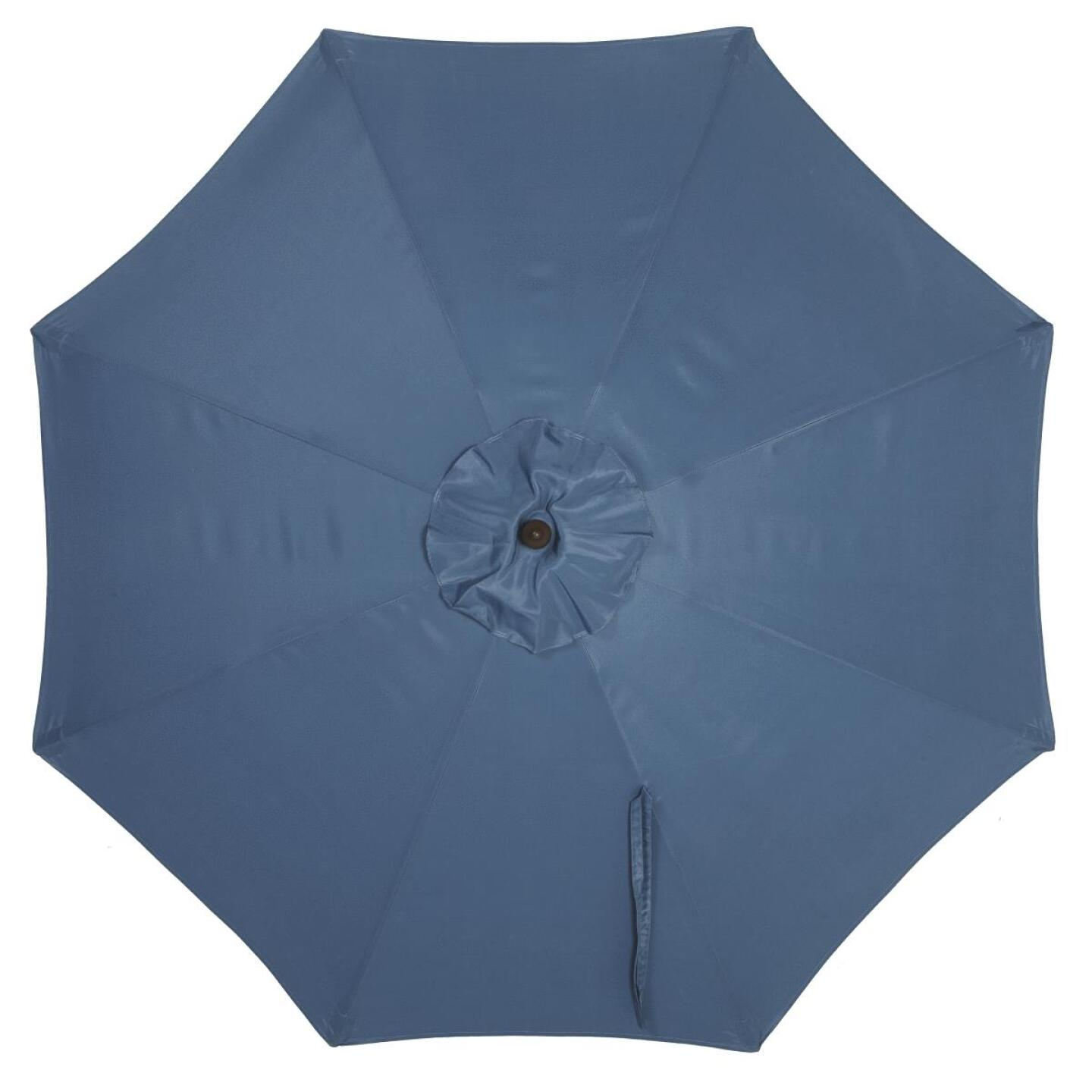 Outdoor Expressions 7.5 Ft. Pulley Heather Blue Market Patio Umbrella with Chrome Plated Hardware Image 3