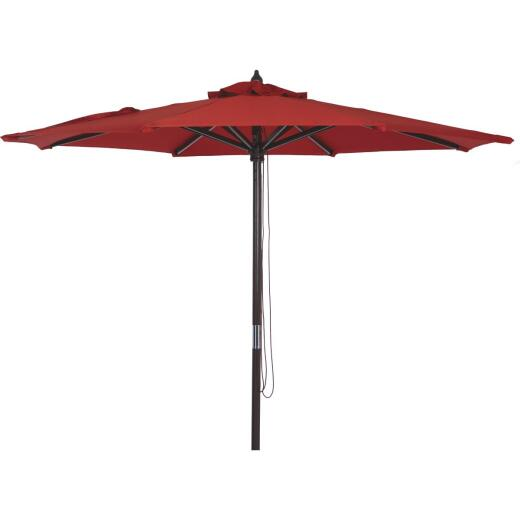 Outdoor Expressions 7.5 Ft. Pulley Crimson Red Market Patio Umbrella with Chrome Plated Hardware