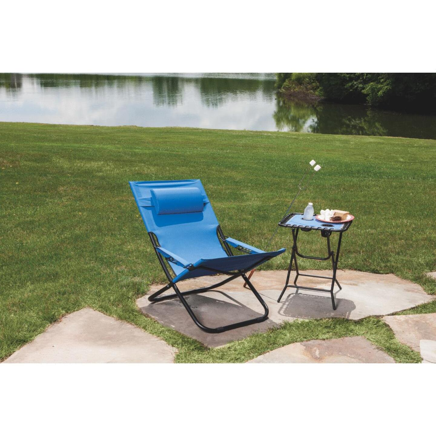 Outdoor Expressions Folding Blue Hammock Chair with Headrest Image 4