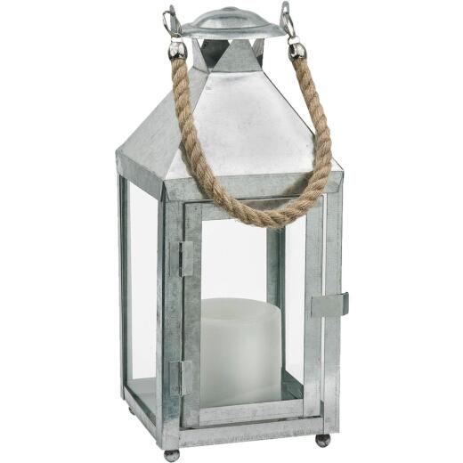 Paradise 6.30 In. W. x 12.60 In. H. Glavanized Metal LED Lantern with Rope Handle Patio Light