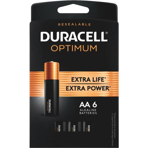 Duracell Optimum AA Alkaline Battery (6-Pack)