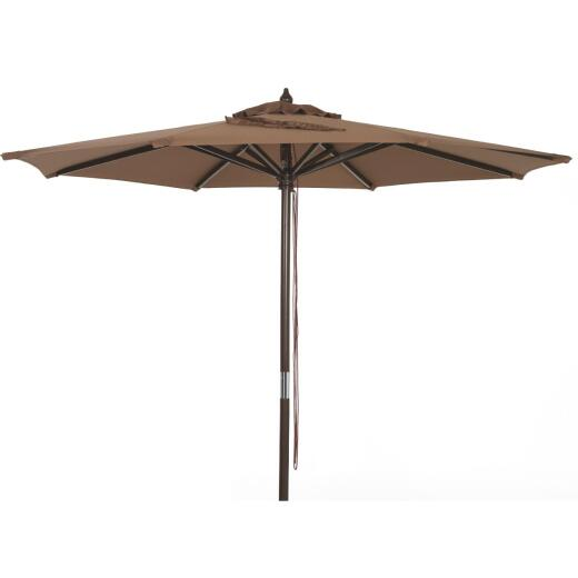Outdoor Expressions 7.5 Ft. Pulley Brown Market Patio Umbrella with Chrome Plated Hardware