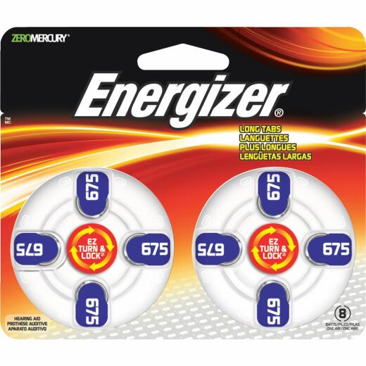 Energizer EZ Turn & Lock 675 Hearing Aid Battery (8-Pack)