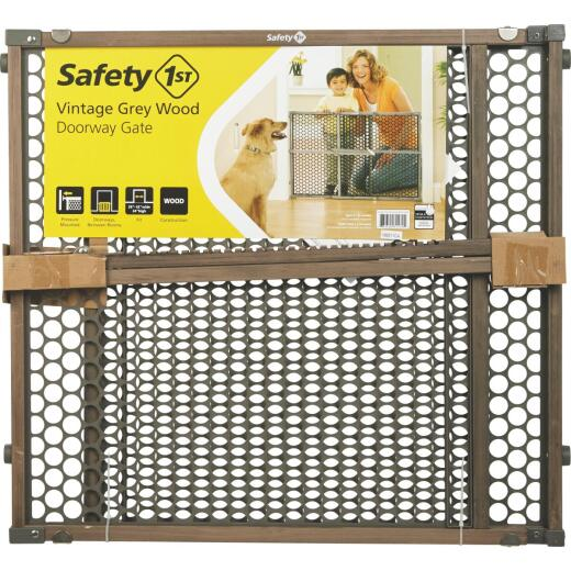 Safety 1st 24 In. H. Vintage Gray Wood Doorway Safety Gate