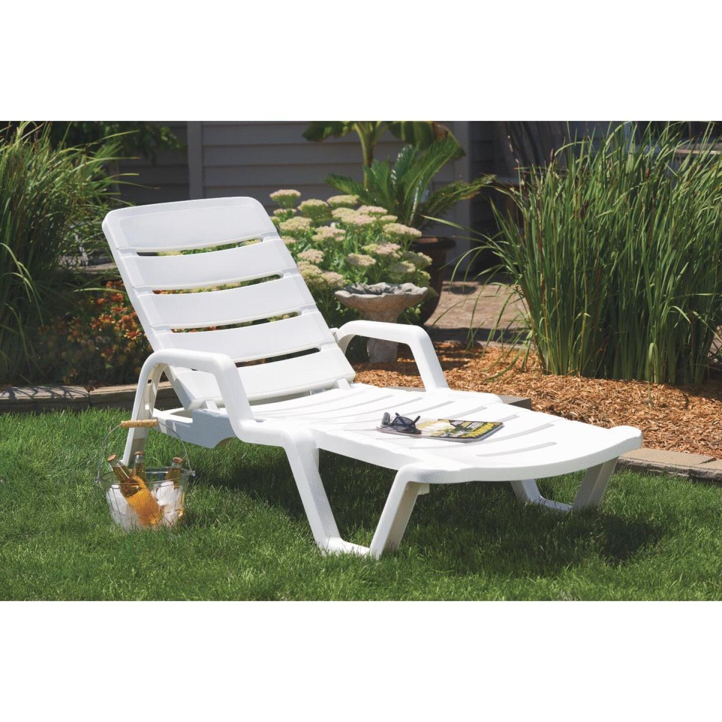 Adams White Resin Adjustable Chaise Lounge Image 2