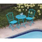 Outdoor Expressions Cruiser 3-Piece Folding Turquoise Bistro Set Image 4