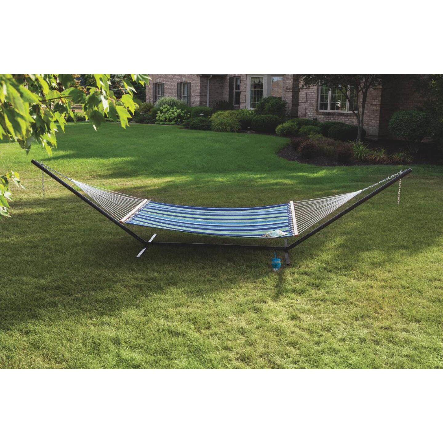 Castaway Duracord Blue & Green Striped Quilted Hammock Image 4