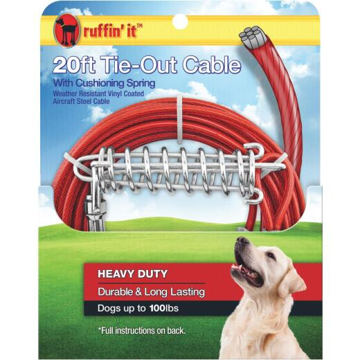 Westminster Pet Ruffin' it Heavy-Duty Large Dog Tie-Out Cable, 20 Ft.