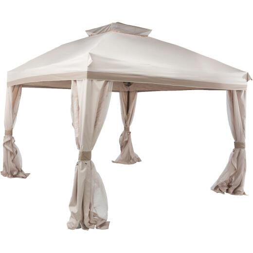 Pacific Casual 10 Ft. x 9 Ft. Brown Aluminum & Steel Pitched Roof Style Gazebo