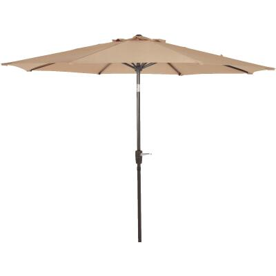 Outdoor Expressions 9 Ft. Aluminum Tilt/Crank Tan Patio Umbrella