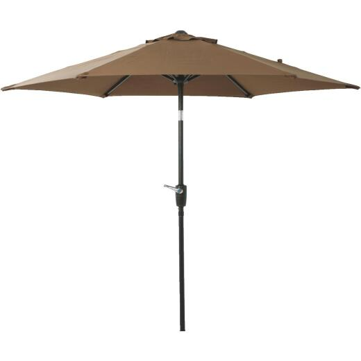 Outdoor Expressions 7.5 Ft. Aluminum Tilt/Crank Brown Patio Umbrella