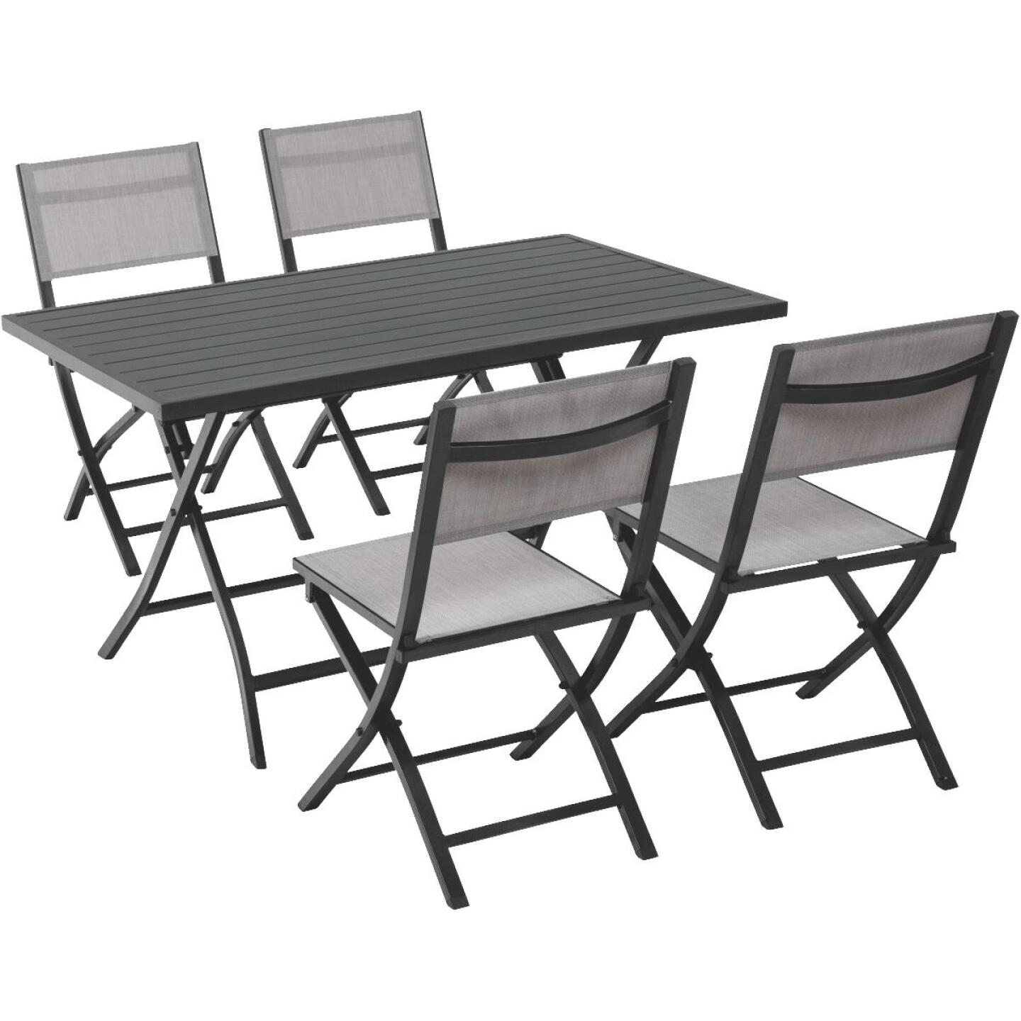 Outdoor Expressions Ash 5-Piece Aluminum Folding Dining Set Image 1