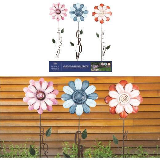Alpine Metal Assorted Flower Garden Stake Set (3-Pack)