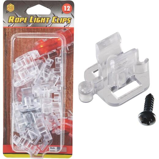 Commercial Christmas Hardware Clear Window Frame & Door Frame Rope Light Clips (12-Pack)