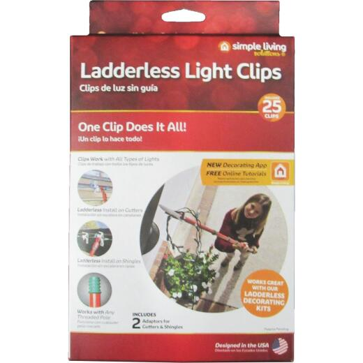 Simple Living Solutions White Gutter & Shingle Ladderless Light Clips (25-Pack)