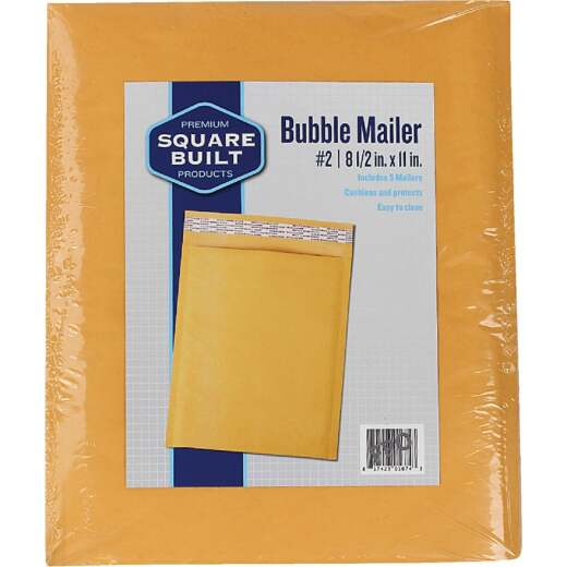 Square Built 8.5 In. x 11 In. #2 Bubble Mailer (5-Pack)