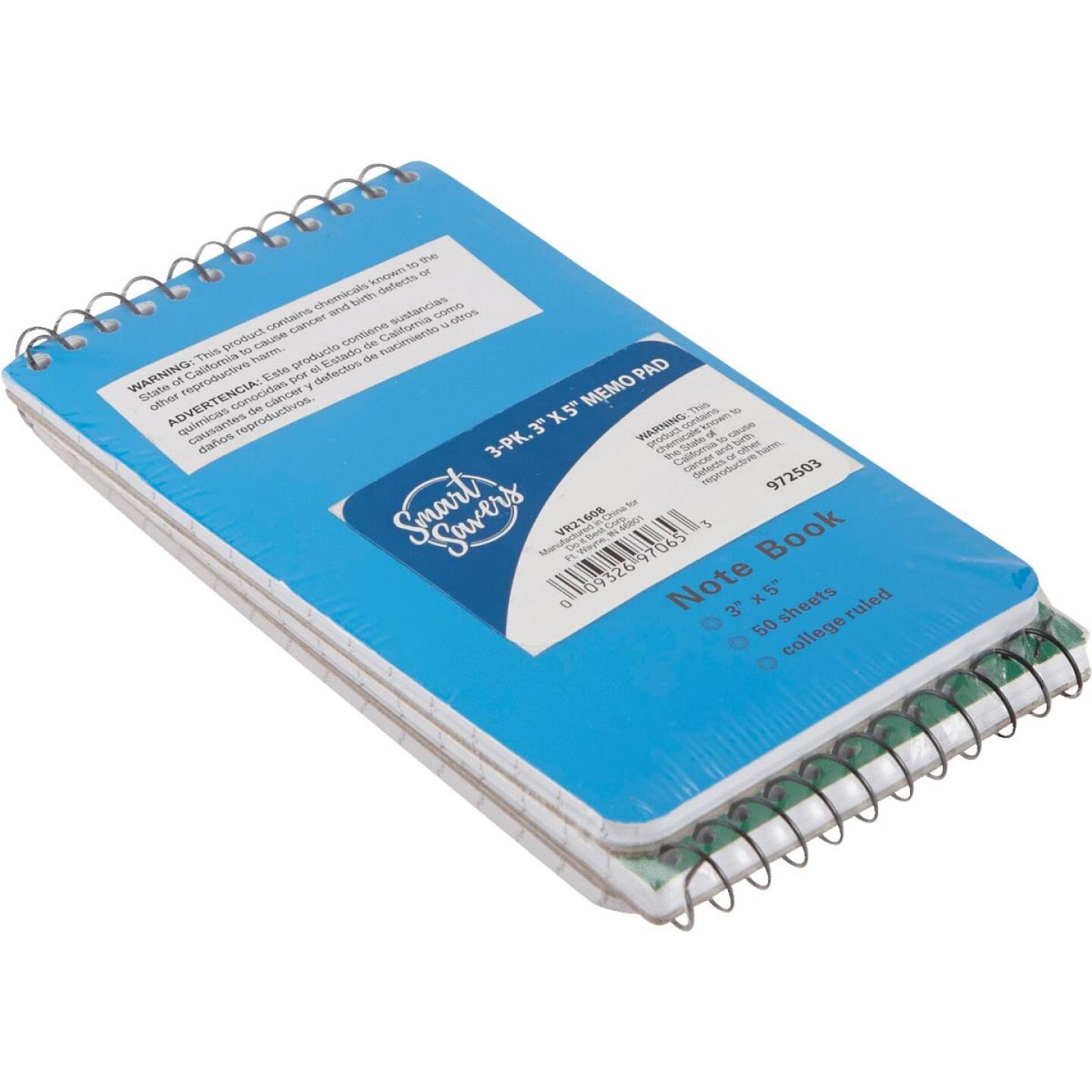 Smart Savers 3 In. x 5 In. White 50-Sheet Top Spiral Bound Memo Pad (3-Pack) Image 2