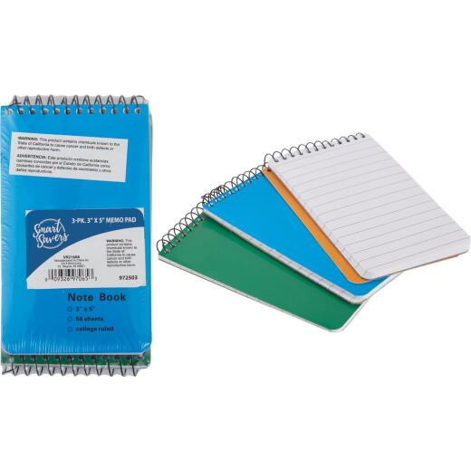 Smart Savers 3 In. x 5 In. White 50-Sheet Top Spiral Bound Memo Pad (3-Pack)