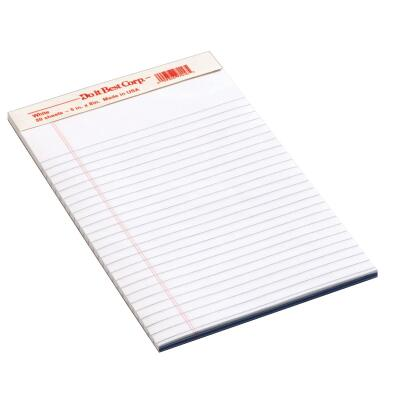 Staples 5 In. W. x 8 In. H. 50-Sheet White Top Bound Legal Pad (12-Pack)